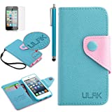 Pandamimi ULAK(TM) Blue PU Leather Card Holder Wristlet Wallet Type Case Cover For Apple iPod Touch 5th Generation with Stylus and Screen Protector