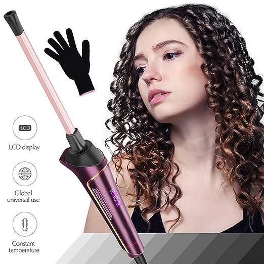 DKzyy Tenacillas para Rizar, Pantalla LCD 9MM Unisex Rizador para ...
