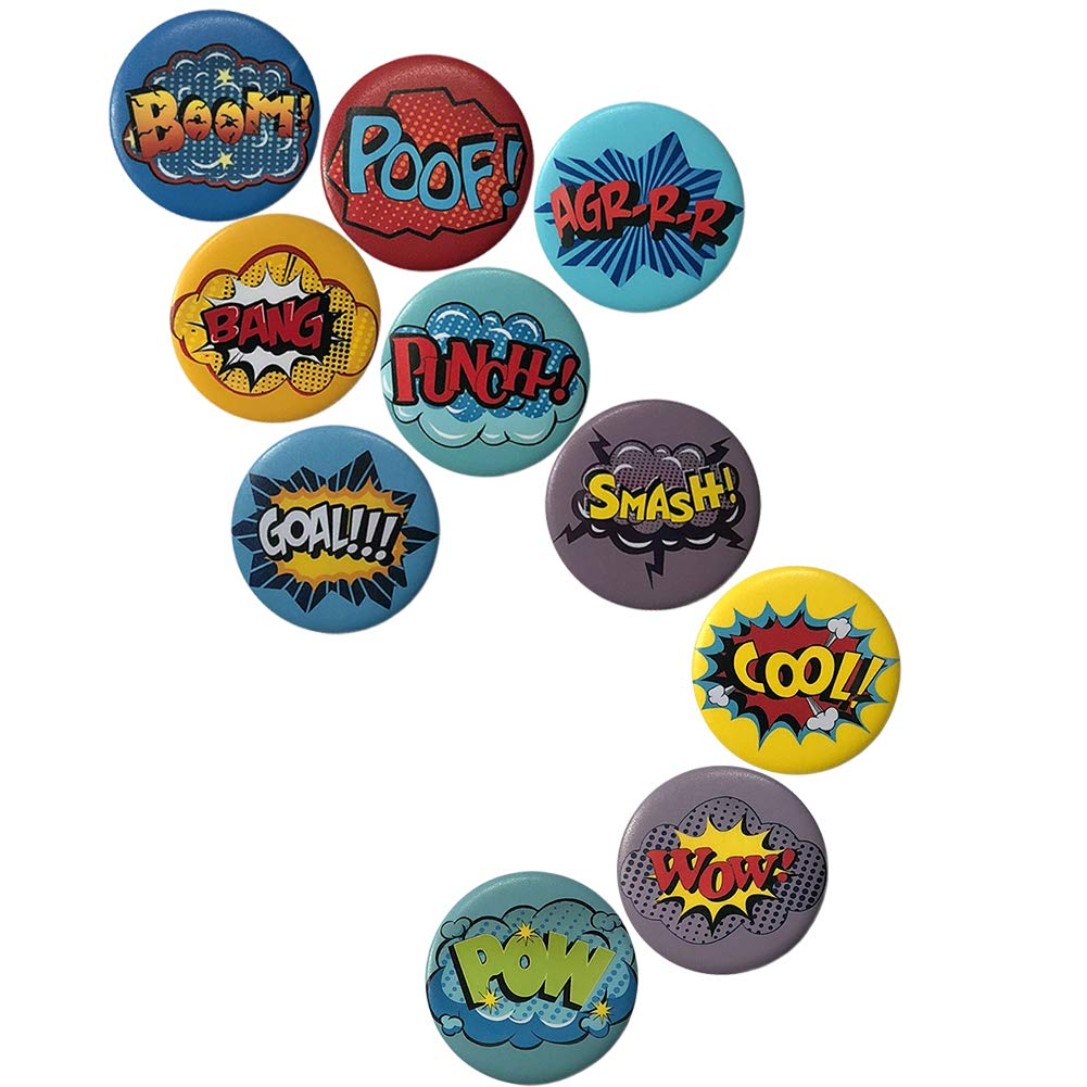 VCZONE Hero Badge Super Fan Supplies Party Accessories Button Badges Pins Set for Birthday Party, Campus Activities, Family Games(10-Pack)
