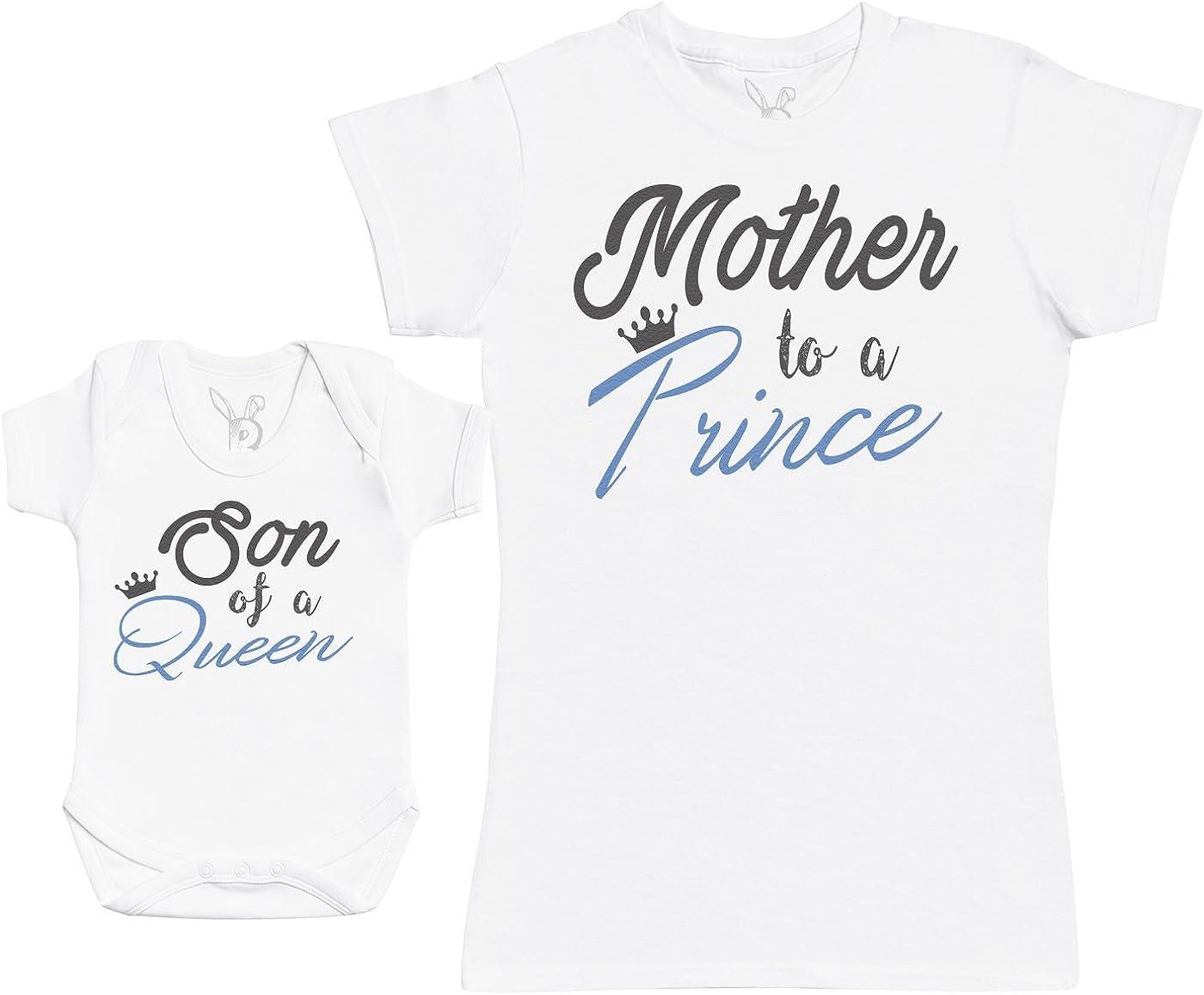 Son of A Queen, Mother To A Prince - Regalo para Madres y bebés en un Body para bebés y una Camiseta de Mujer a Juego