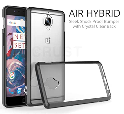 timeless design f9f3a fd90a Crust Air Hybrid Clear Back Cover For OnePlus 3T / One Plus 3, Ultra Slim  Fit Shock Absorption Bumper Case With Anti Scratch Crystal Clear Back - ...