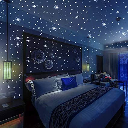 100X DIY Pack Glow In The Dark 3D Stars Moon Stickers Wall Stable Bedroom L2Z8