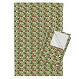Roostery Baseball Tea Towels Ball Games Green Background by Hazel Fisher Creations Set of 2 Linen Cotton Tea Towels