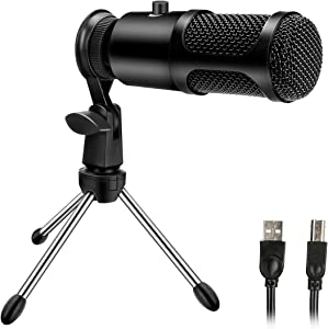 USB Condenser Microphone, Jhua PCDesktop Microphone Plug and Play ProfessionalCondenser Microphone for Laptop MAC Windows PS4 Gaming Desk Mic with Desktop Stand for Podcast and Streaming