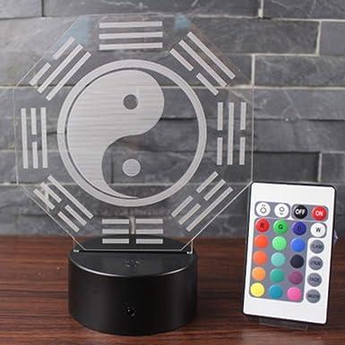 Wangzj Tai Chi Ocho Diagramas Lámpara de ilusión visual 3D / Touch 7 Color (Base negra) Luz nocturna para niños: Amazon.es: Iluminación