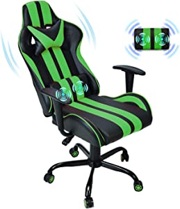 Ferghana Massage Gaming Chair,PC Computer Chair,Video Game Chair, Ergonomic Office Chair, Racing Executive PU Leather Desk Chair with Lumbar Support Headrest Armrest Rolling Swivel Chair (Green)
