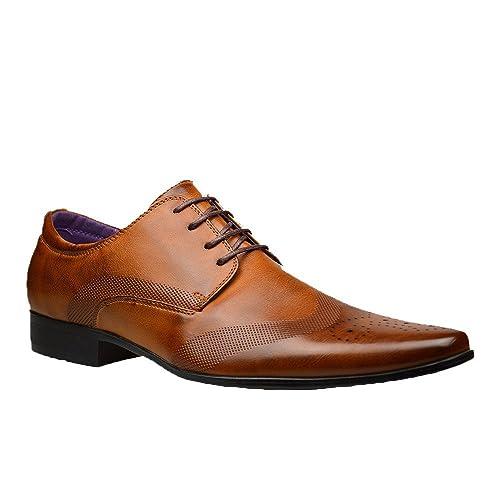 Moda Hombre Nuevo Zapatos Negros De Piel Formal Elegante Vestido talla UK 6 7 8 9 10 11 - Marrón, hombre, 9 UK / 43 EU