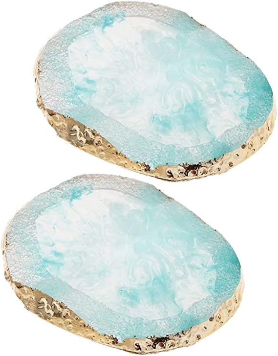 2 White Imitation Agate Coloring Palette Jewelry Display Pad Coaster Cup Mat