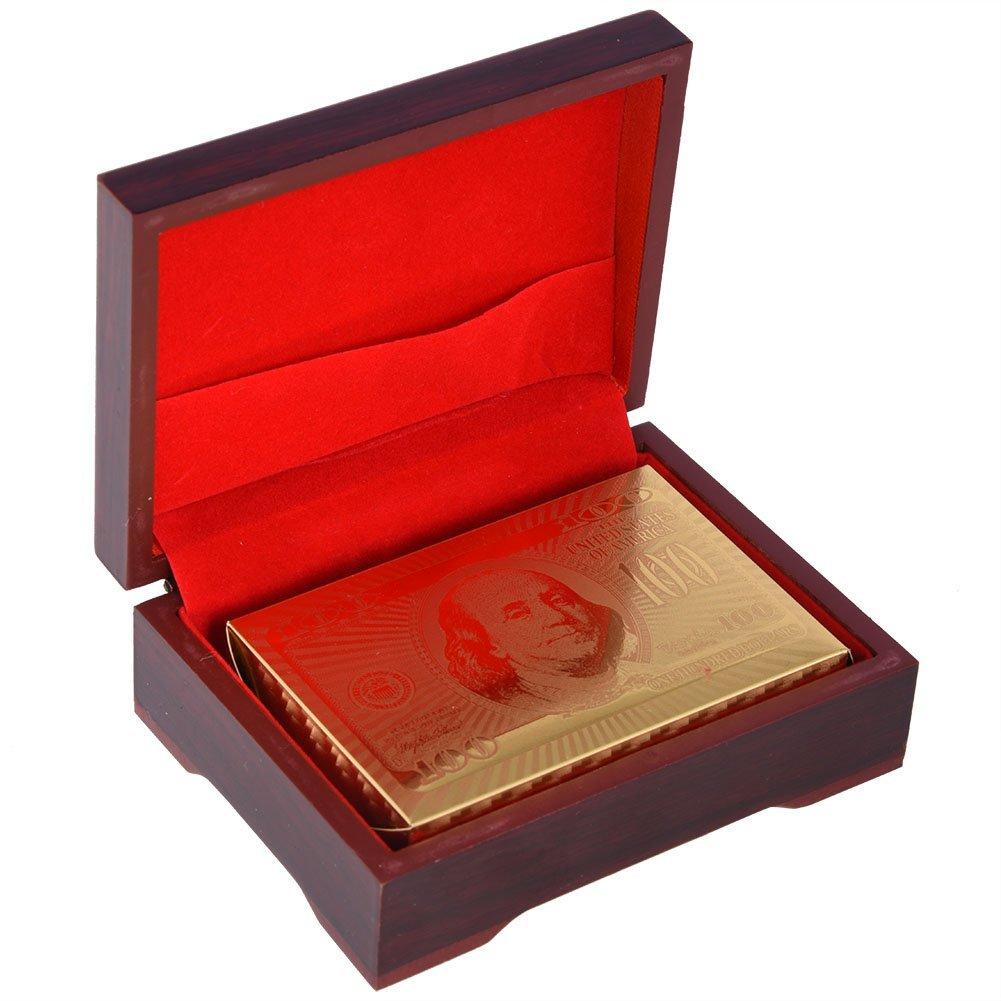 Tbest Cartes de Poker étanches Définies de Luxe Imperméables à l'eau Fausse Feuille d'or Jouant des Cartes de Poker en Plastique(Euro Gold + Boîte en Bois)