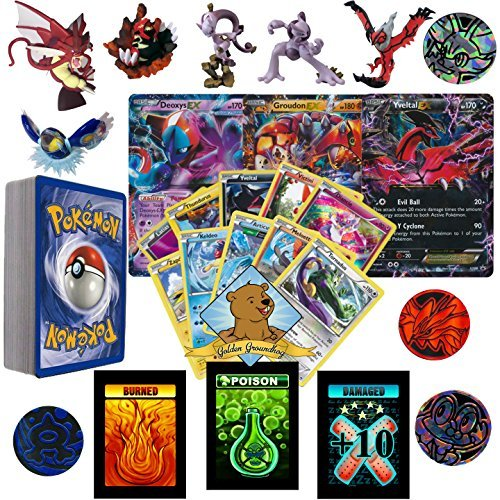 50 Assorted Pokemon Card Pack Lot - Zero- Duplication Featuring A Random Pokemon Figure, 1 Coin, 1 Random Ultra Rare, Foils, Rares. Includes 1 Custom Golden Groundhog Box.
