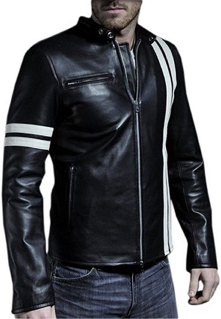 Stylish Mens Biker Motorcycle Slim Fit Leather Casual Jackets LF417