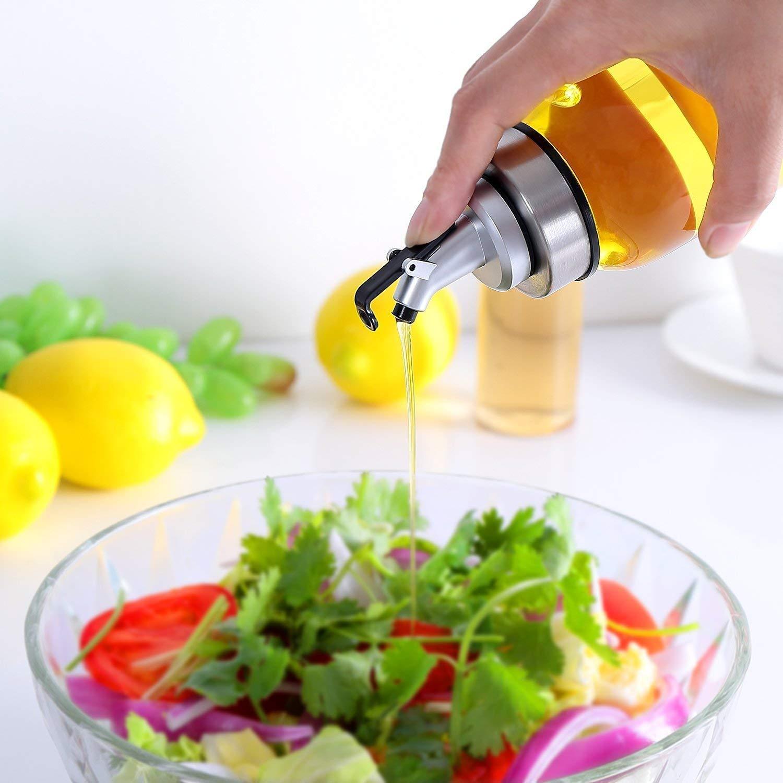 contenitore per olio vegetale 500 ml bottiglia di olio in vetro non gocciola Bottiglia dispenser per olio doliva dispenser di olio in vetro senza piombo 500 ml Transparent olio doliva