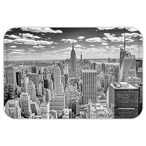 VROSELV Custom Door MatNew York Decor NYC over Manhattan from Top of SkyscraperUrban Global Culture Artful City Panorama - Love Culture Nyc