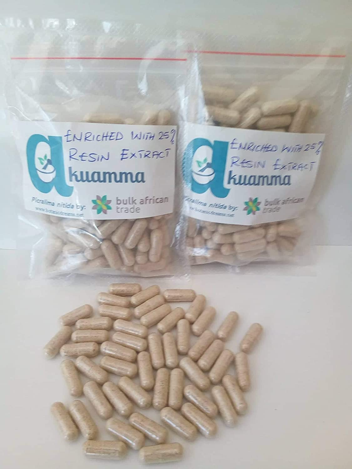 Akuamma Picralima nitida Seed Capsules 650mg cap enriched with 25 Extract 1000