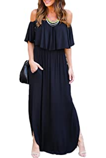ffcbca8410 Zilcremo Women Casual Off Shoulder Ruffles Side Slit Maxi Beach Cocktail  Dress