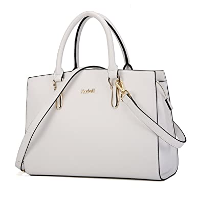 Kadell Elegant Women Handbags Leather Vintage Tote Satchel Shoulder  Crossbody Bags Top Handle Purse White 73858720d1a96