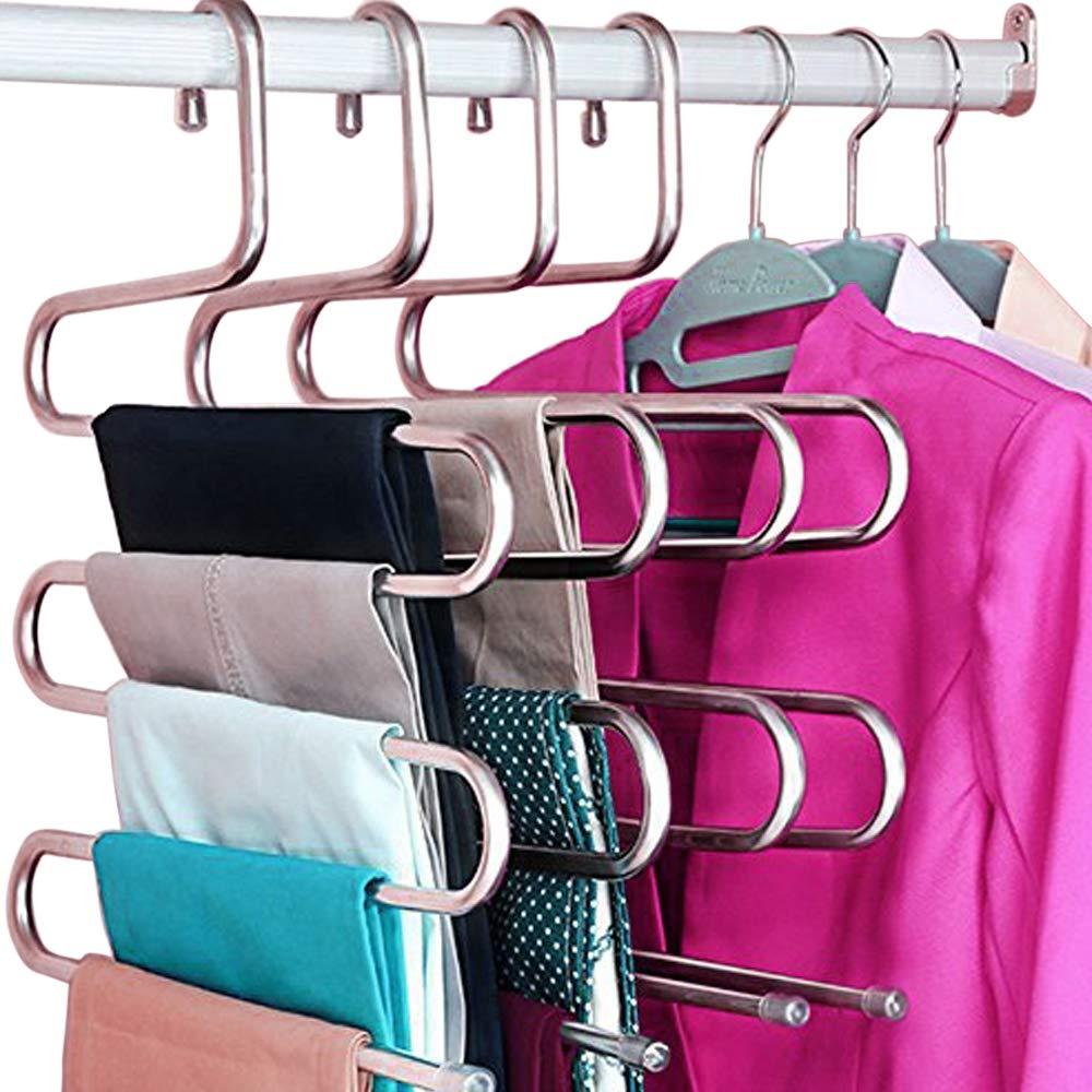 HangPro Pants Hanger, Closet Organizer for Pants, Jeans, Skirts, Hanger Organizer, Scarf Hanger, Stainless Steel S-Shaped (14.17 x 14.96 ins) (3 Pieces/Set)