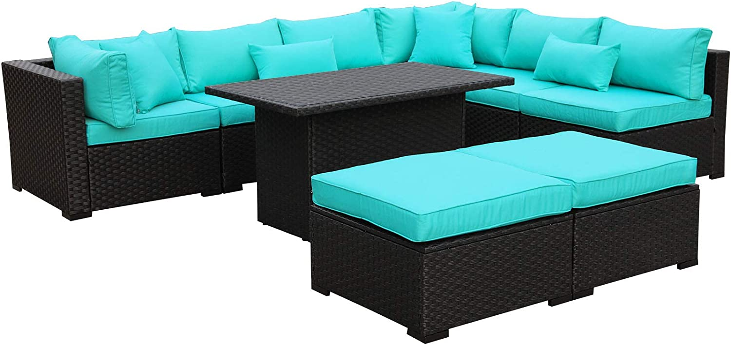 Outdoor PE Wicker Rattan Furniture Set - 9 Piece Patio Garden Sectional Sofa Chair with Turquoise Cushion