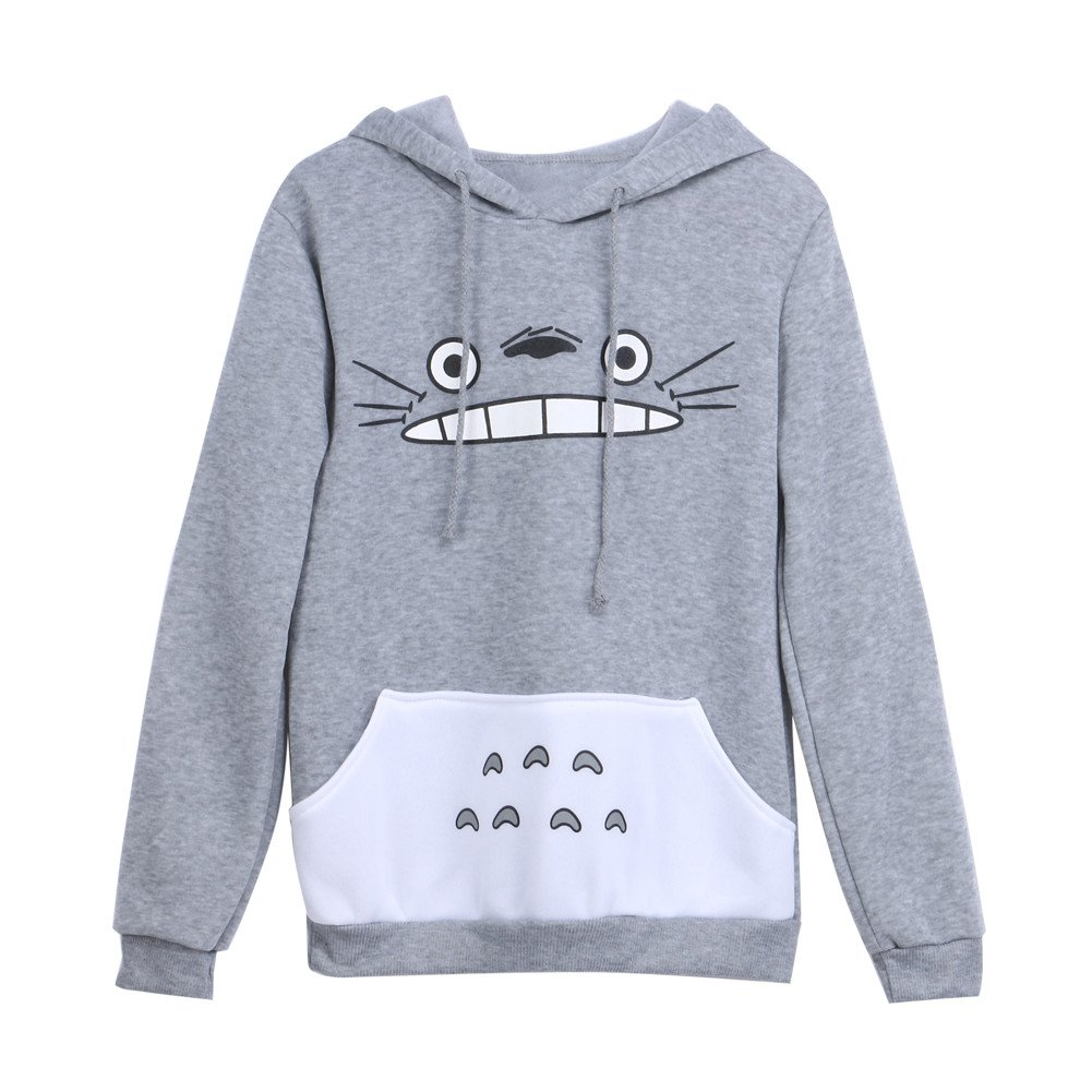 HiSummit Unisex Anime Sweater Shirt My Neighbor Totoro Long Sleeve Fleece Hooded Sweatershirt with Ears Grey