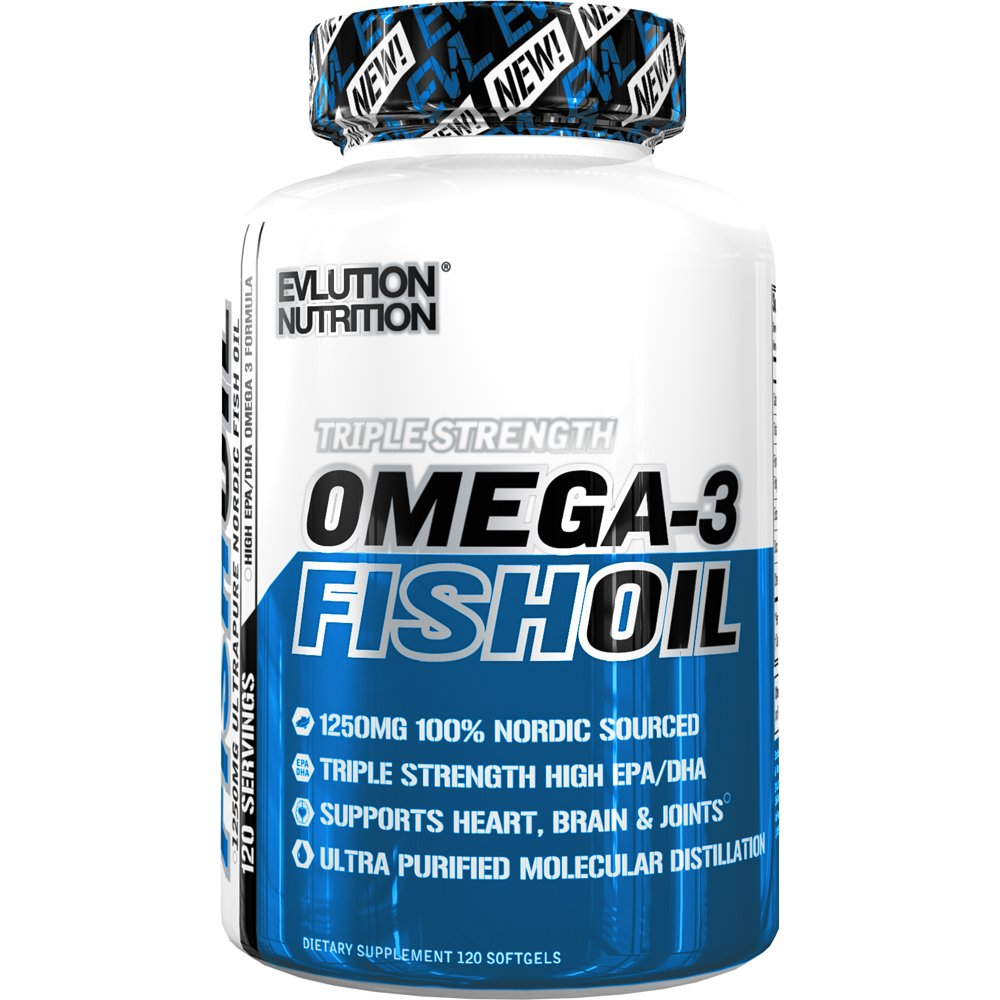 Evlution Nutrition Omega 3 Fish Oil 1250mg, HIGH EPA 450mg, DHA 300mg Triple Strength, Capsules (120 Servings) by Evlution