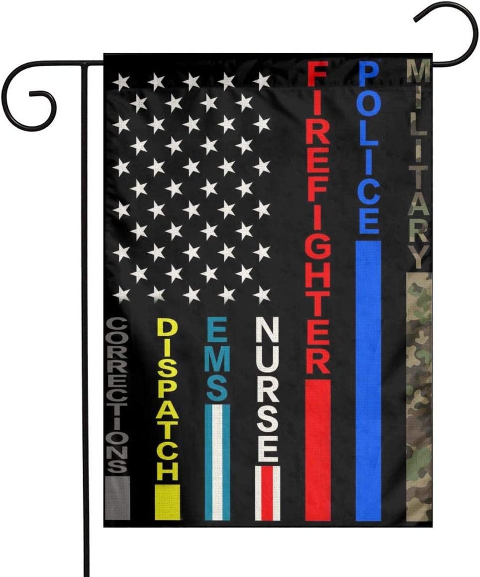 No One Fights Alone Military American Flag Army Police Cop Firefighter Fire Blue Green Red Thin Line Black Flax Nylon Burlap Linen Fabric Garden Mailbox Decor Welcome 12x18 Small Double Sided