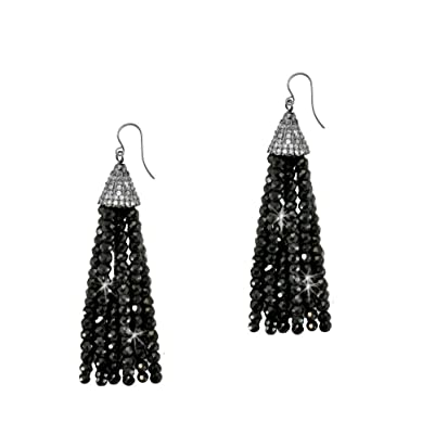 SIVALYA Black Spinel Beads and CZ Cap Tassel Earrings in sterling silver, new jewelry for women, A great gift for her