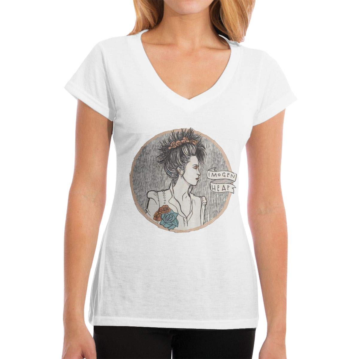 Fredrmarr Imogen Heap Line T-shirt Short Sleeve Casual Tees