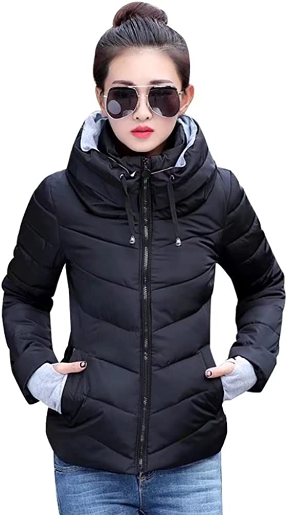 SITENG Womens Winter Jacket Parkas Thicken Plus Size Outerwear Solid Hooded Coats Short Slim Cotton Padded Basic Tops