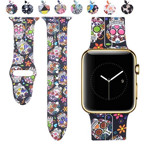 Price comparison product image Allbingo Cute Bands for Apple Watch Band 38mm 42mm Women Men (Skeleton Flowers, 38mm M/L)