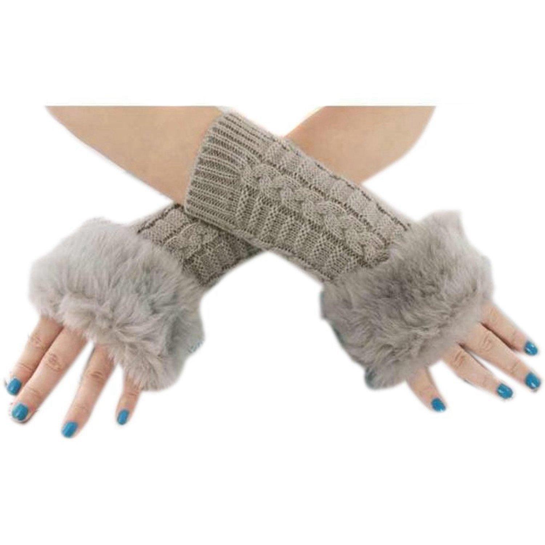 Scaldabraccia da donna in lana lavorata, per le braccia, senza dita, caldi  e comodi per l'inverno, ottimo regalo di Natale Grey: Amazon.it: Elettronica