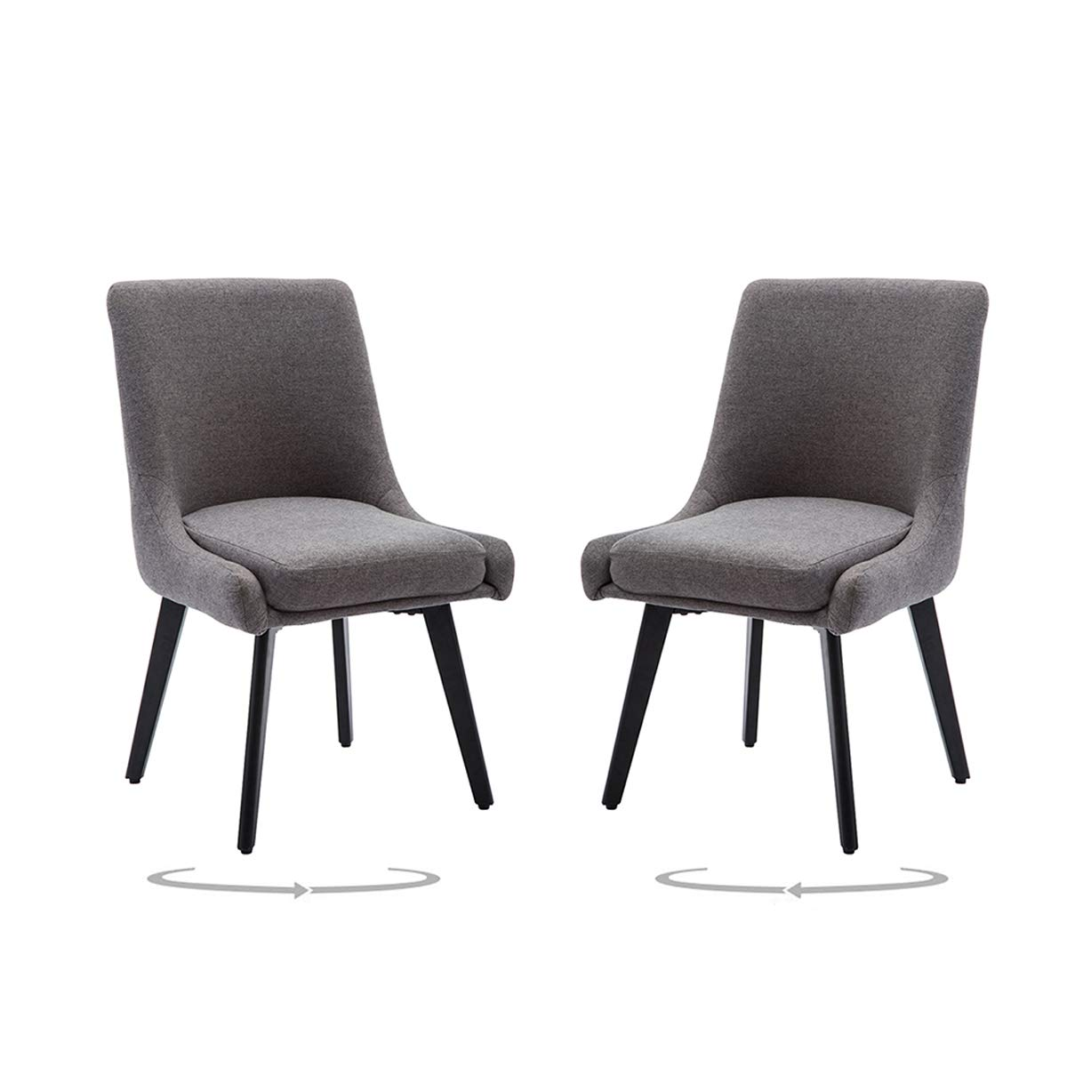Upholstered Swivel Dining Chair Accent Chairs for Home Kitchen Office Desk Set of 2 with Metal Leg