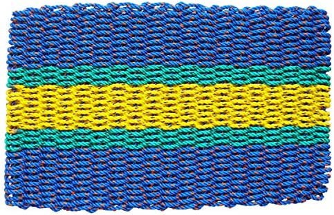 Lobster Rope Door Mats, Handwoven Nautical Rope Outdoor Reversible Entrance Mats 24 x 36, Blue, Green, Yellow