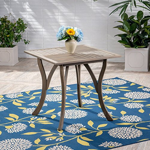 Great Deal Furniture 305152 Baia Outdoor Acacia Wood Square Dining Table, Gray