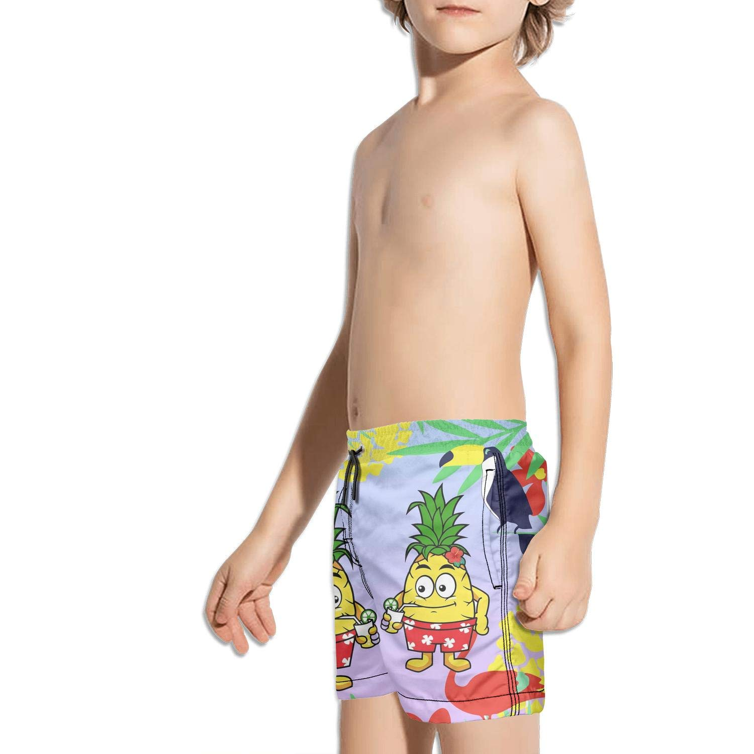 NAIT.2 Shorts Swimming Tucks for Kid Quick Dry Stretch Board Sporty Swim Colorful Workout Hawaiian Pineapple and Beach