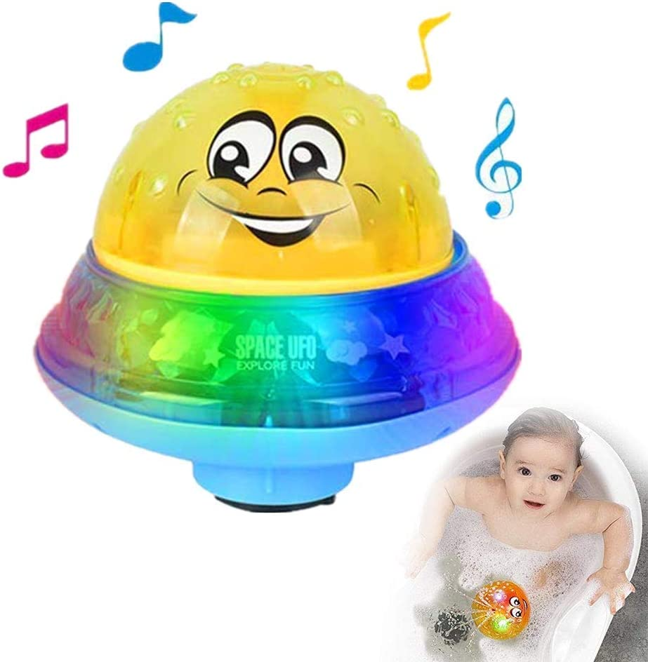 2 in 1 Induction Spray Water Toy /& Space UFO Car Toys with LED Light Musical Fountain Toy Automatic Induction Sprinkler Bath Toy Bathtub Toys for Toddlers