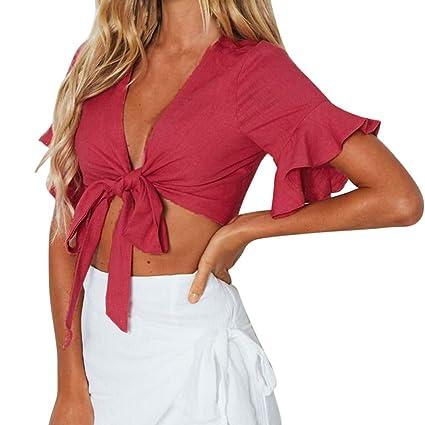 5c19ad1ed3a Amazon.com - Women Sexy Bow Deep V-Neck Short Butterfly Sleeve Ruffles T-Shirt  Crop Top Blouse (Red, M) -