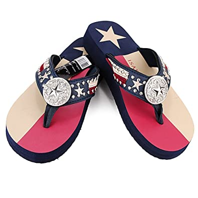 f2fd648a0 Women Flip Flop Flat Texas Lone Star Flag Western Ladies Slipper Navy Blue  Sandals (S