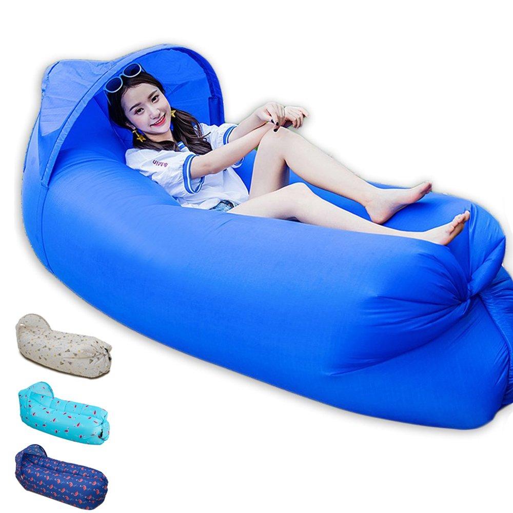 Cama de aire portátil, 0,9 kg, inflación rápida, uso exterior, con parasol