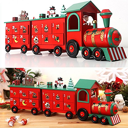 Christmas Train Advent Calendar Calendar New Home Xmas Decoration Reusable Christmas Countdown Present by Zebery®