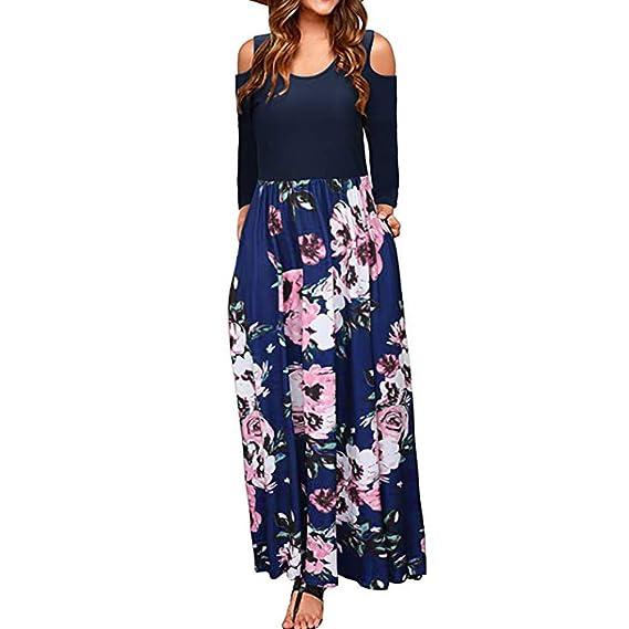 Longra Vestido Boho Largo de Manga Larga Elegante con Estampado Floral en Hombros fríos de Las