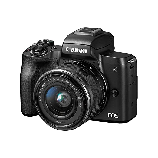 Renewed  Canon EOS M50 24.1MP Mirrorless Digital SLR Camera  Black  with EF M 15 45 is STM Lens Digital SLRs