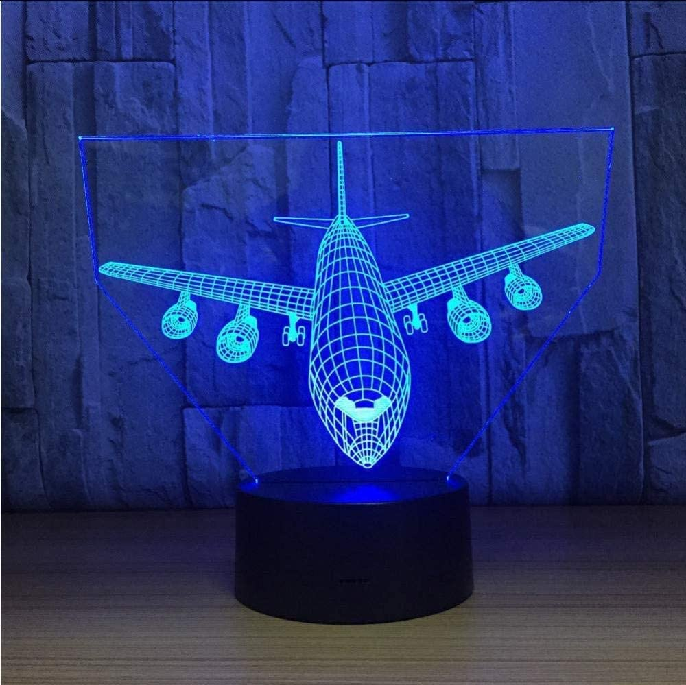 YKL World Airplane Night Light 3D Illusion Lamp 7 Color Changing Touch Control with USB Cable LED Table Desk Decor Lamps Christmas Birthday Gifts for Kids Boys Pilot Plane Lover