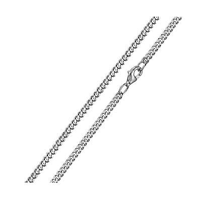 rechercher le dernier meilleures chaussures modèle unique Materia Argent rhodié 925 chaîne chaîne collier Homme Femme diamanté plat  2,5 mm Chaîne gourmette – 1000 40 45 50 60 70 cm avec boîte à bijoux # K27