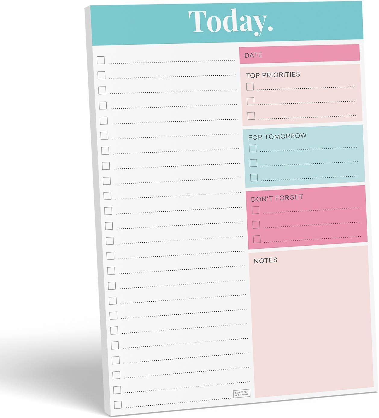 "Sweetzer & Orange Daily Planner 2021, Undated Planner To Do List Notepad. 7x10"" Day Planner Note Pad. Checklist Productivity Organizer, Work Planner, Academic Planner, Daily To Do List Planner"