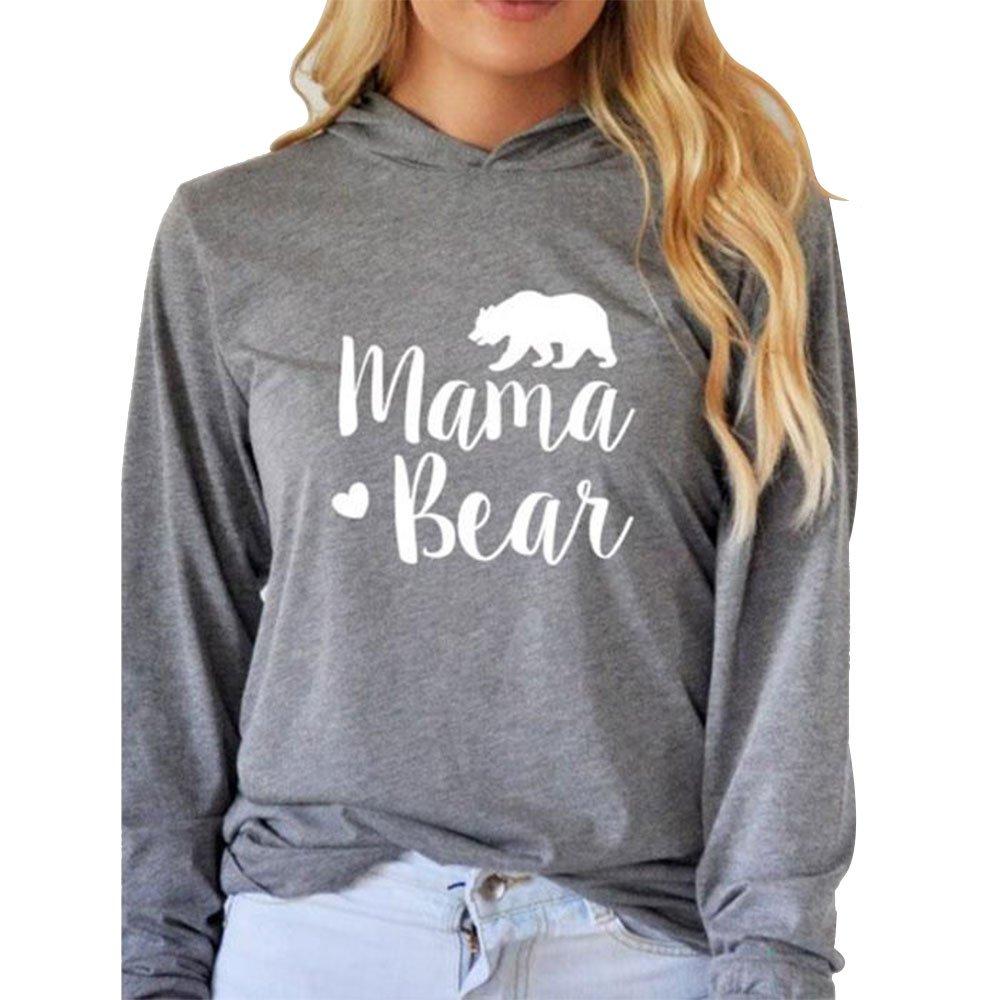 wlgreatsp Women's Mama bear Hoodies Top Outwear Top Outwear Black Grey S/M/L/XL Vin beauty