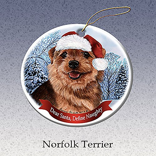 (Holiday Pet Gifts Norfolk Terrier Santa Hat Dog Porcelain Christmas Ornament)