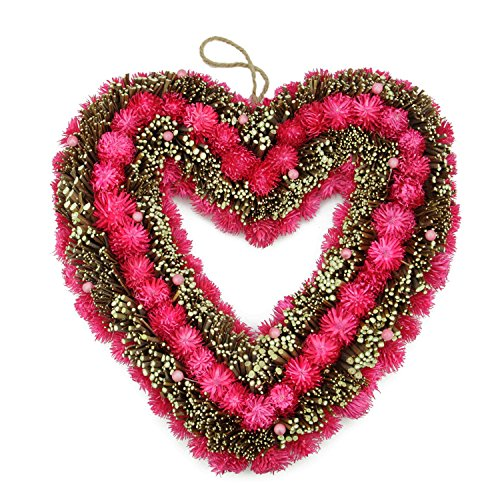 Northlight Flowers, Berries and Twig Heart-Shaped Artificial Spring Floral Wreath Trees Plants, 13.5