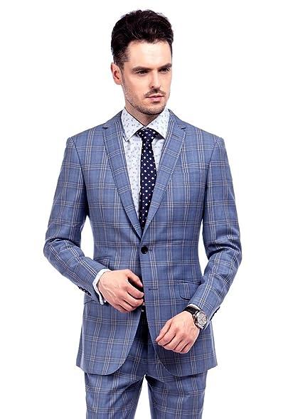 MA 100% Wool Blue Windowpane Men Suits Slim Fit Modern (32Regular US/42EU