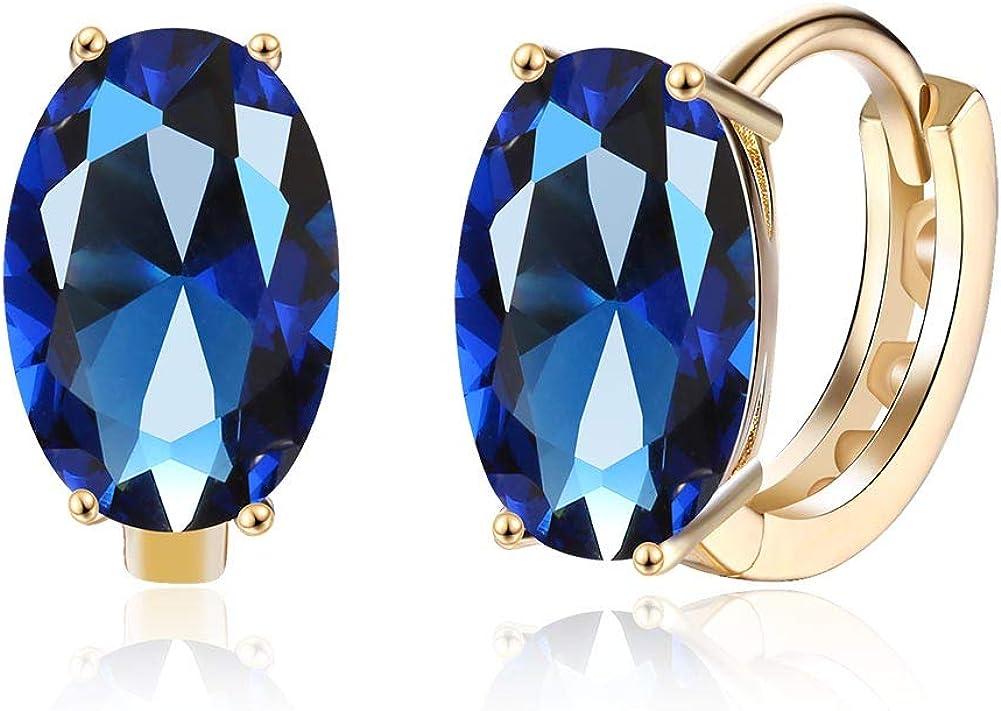 Pendientes de aro redondos pequeños para mujeres y niñas con circonita cúbica azul ovalada y cristal perforado