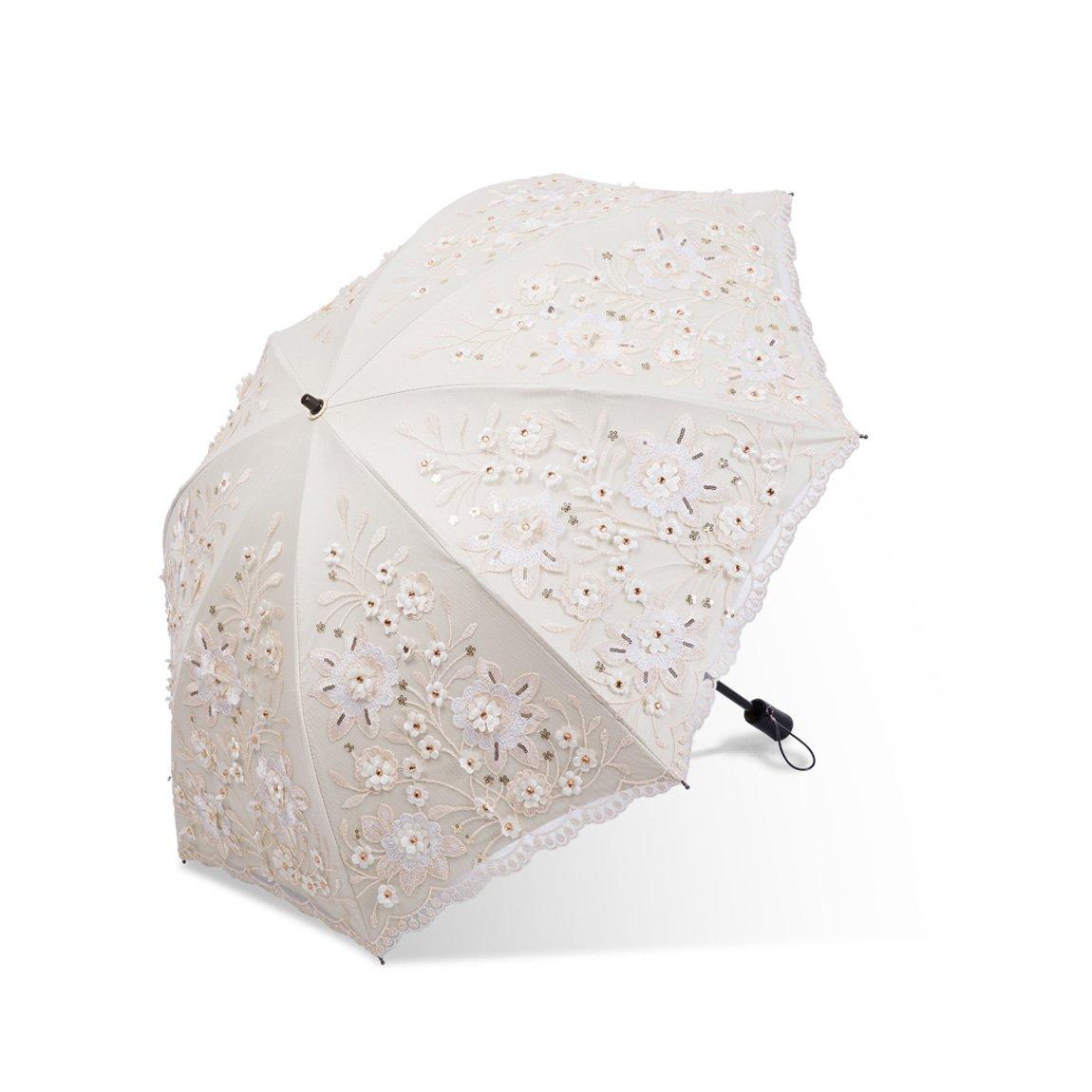 GWM 折る傘、黒い中紫外線防止層パラソル33CMの中の密集したレース旅行日曜日の保護 (Color : Beige) B07TF8V9GW Beige